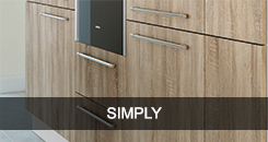 Simply cheap kitchens - Slab style door. Vertical wood grain effect.