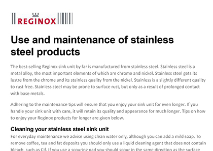 Reginox Stainless Steel Care Guide