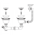 Two Bowl Waste - Plumbing Kit - Overflow - Stainless Steel